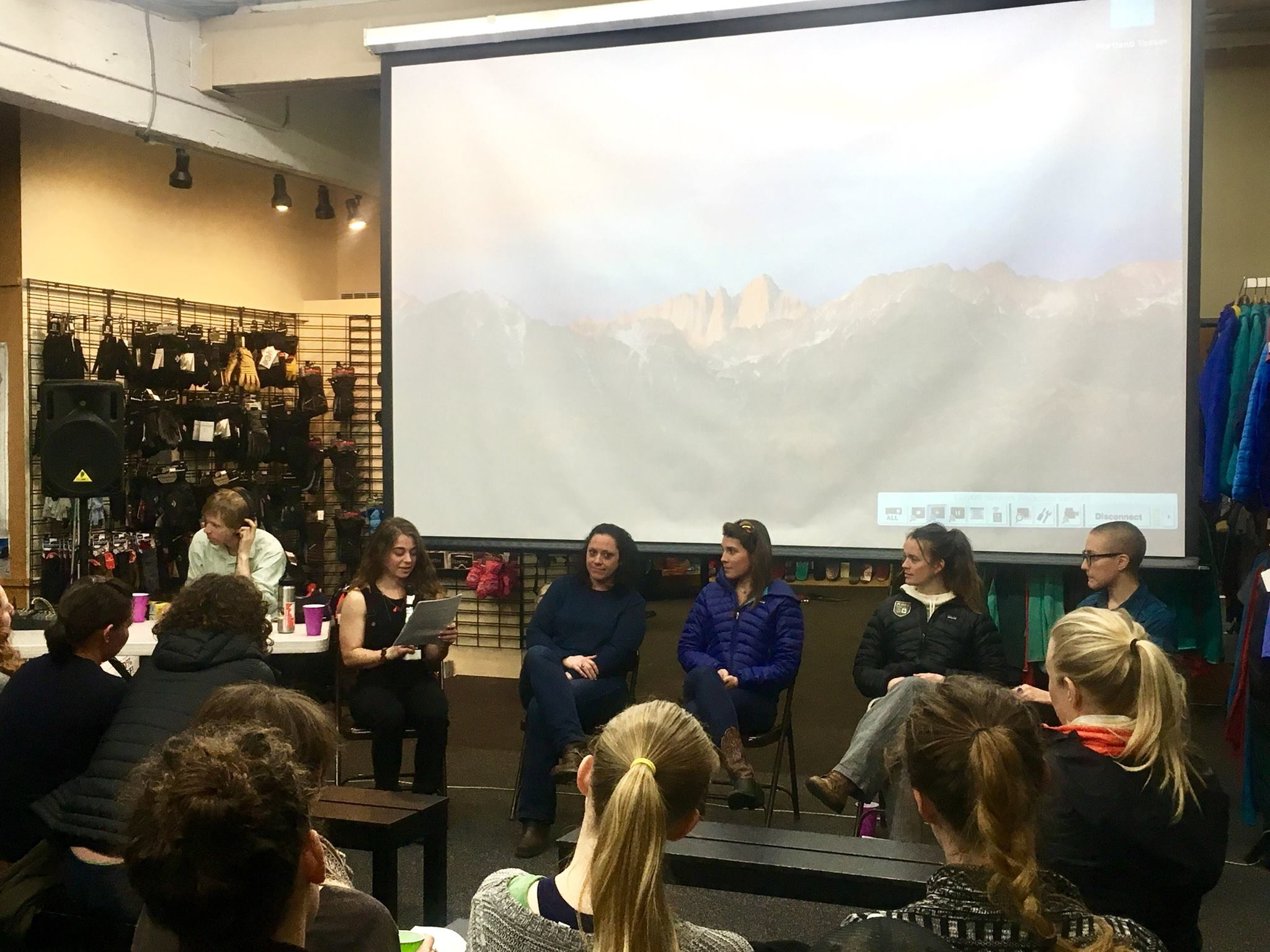 Terra Incognita Media's panel discussion on Environmentalism, Gender, and the Outdoors. From left to right:Erin Monahan (founder of TIM), Ruby McConnell author and geologist, Aisha Weinhold founder of No Man's Land Film Festival, Katie Crafts explorer and photographer, and Kathryn Stevens of The Miller Scholarship Foundation.