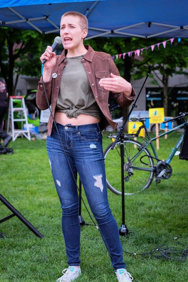 """Kathryn Stevens speaking at Light the Hearth Festival which happened on May 10th. It was a  """"Celebration of Creativity Among Houseless Portlanders."""""""
