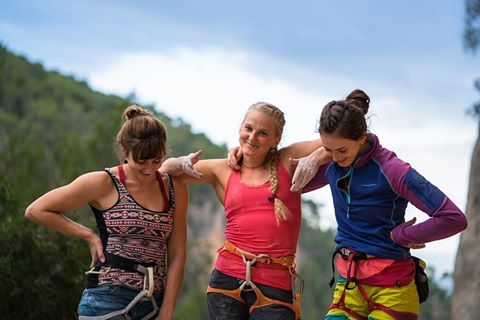Maybe she's born with it. Maybe it's white privilege! Margo Hayes, Emily Harrington, and Paige Claasen. Image via La Sportiva.