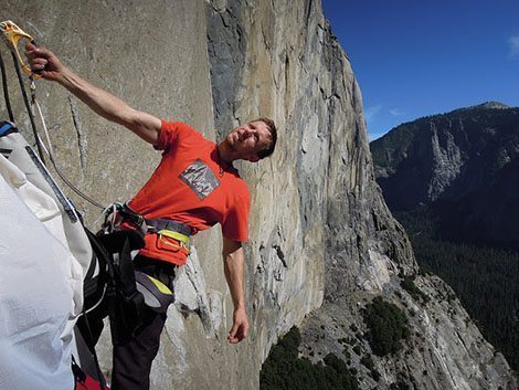 Tommy Caldwell pictured on the Dawn Wall probably not thinking about the original inhabitants, the Ahwahneechee people, of Yosemite. Via Adventure Journal.