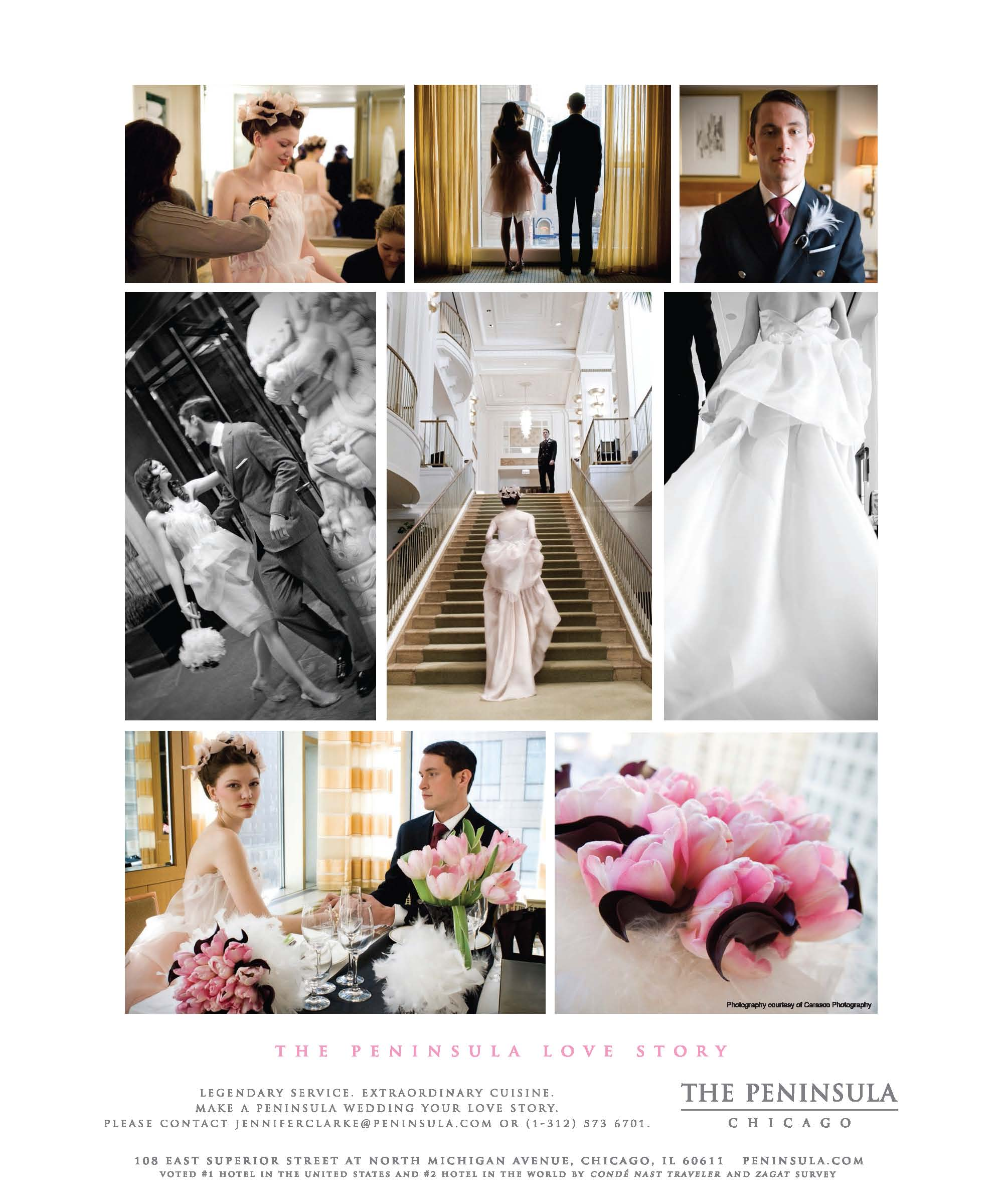 Peninsula Hotel Chicago - Custom Blush bridal gown