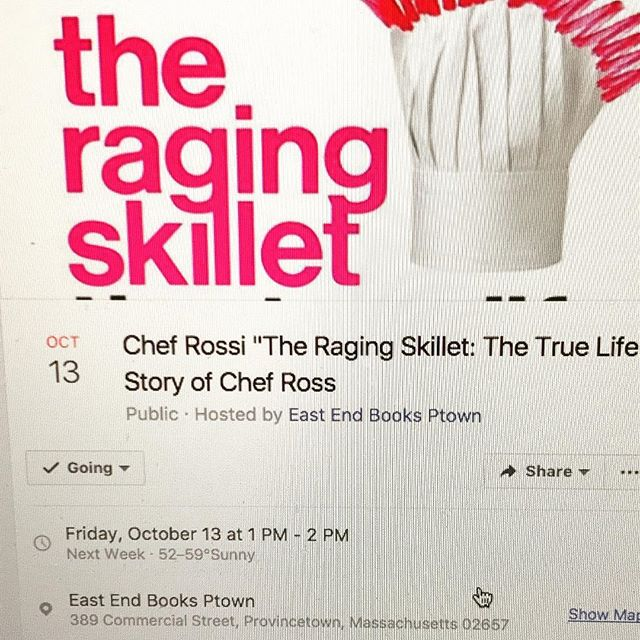 Calling Provincetown! See you oct 13th!! 1:00 at east end books!! I'll be giving out edible vaginas with copies of my book!! A chance to hear me kvetch and eat my Vajayjay!! Wahoo! #ragingskillet #theragingskillet #chefrossi #chefrossinyc @eastendbooksptown @feminist_press @transformationtalkradio @womrwfmr #sexyvajay #ragingvagina