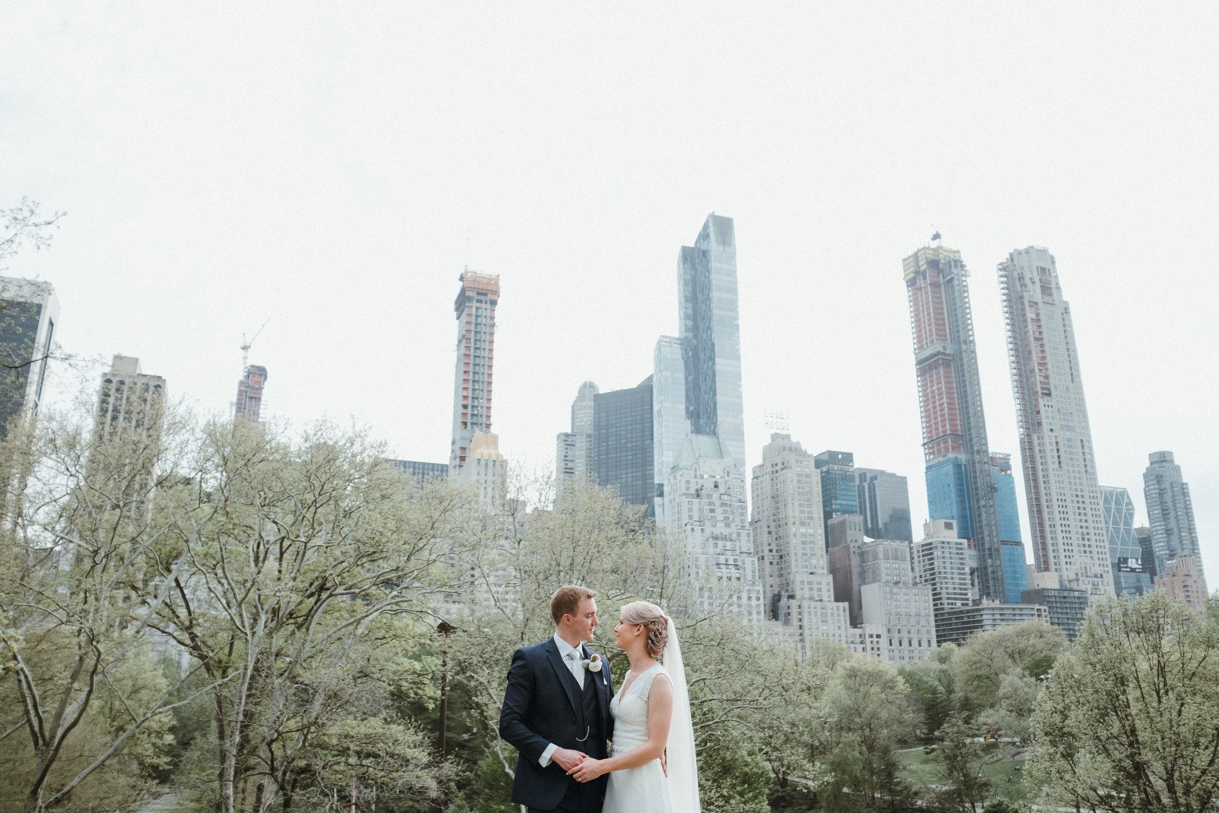 Central Park wedding with New York skyline