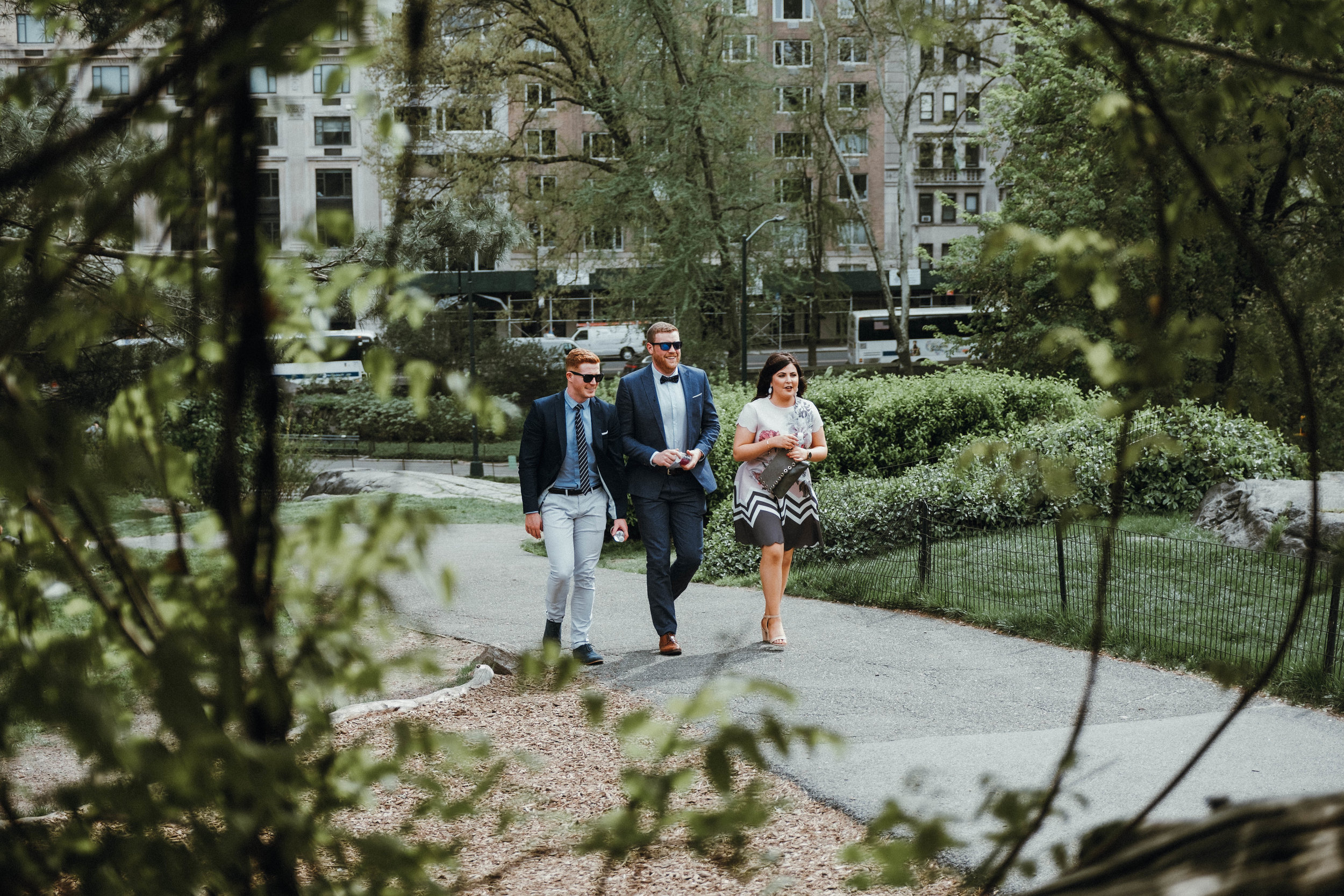 Cop Cot Central Park wedding guests