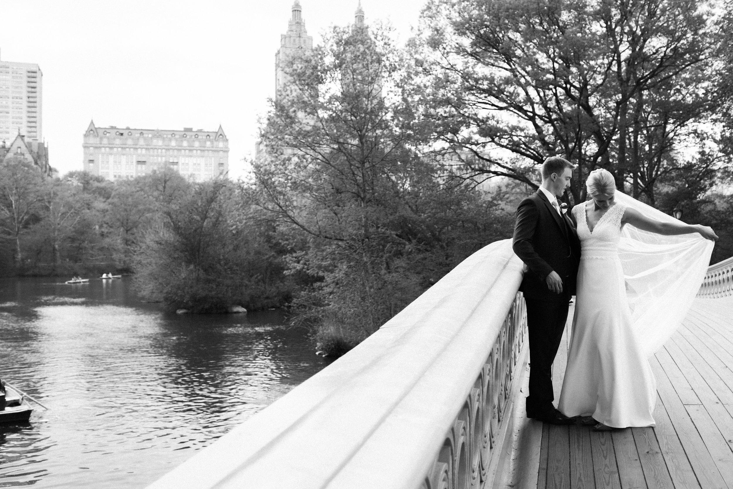 Bow Bridge bride and groom Central Park destination wedding