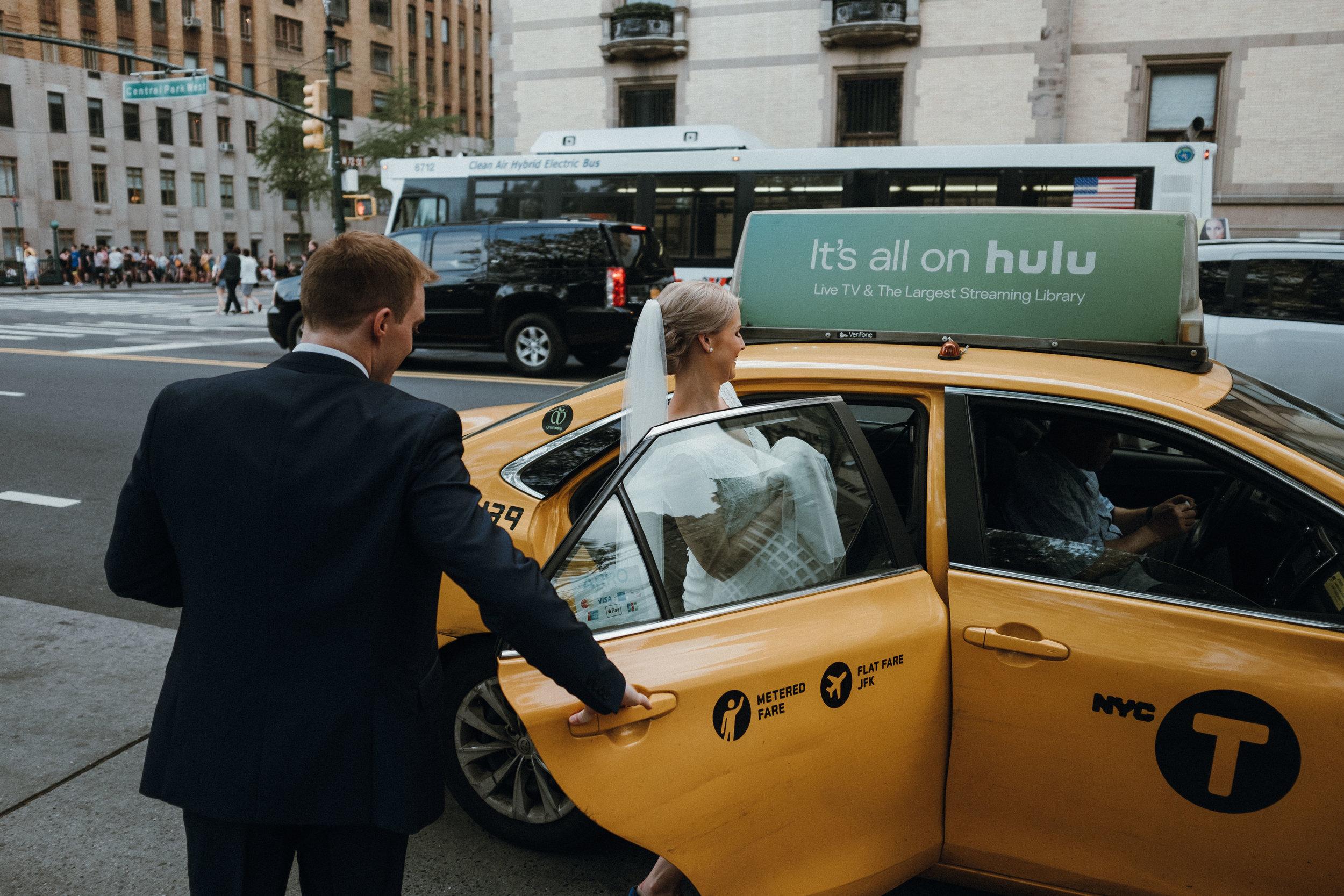 New York yellow taxi wedding
