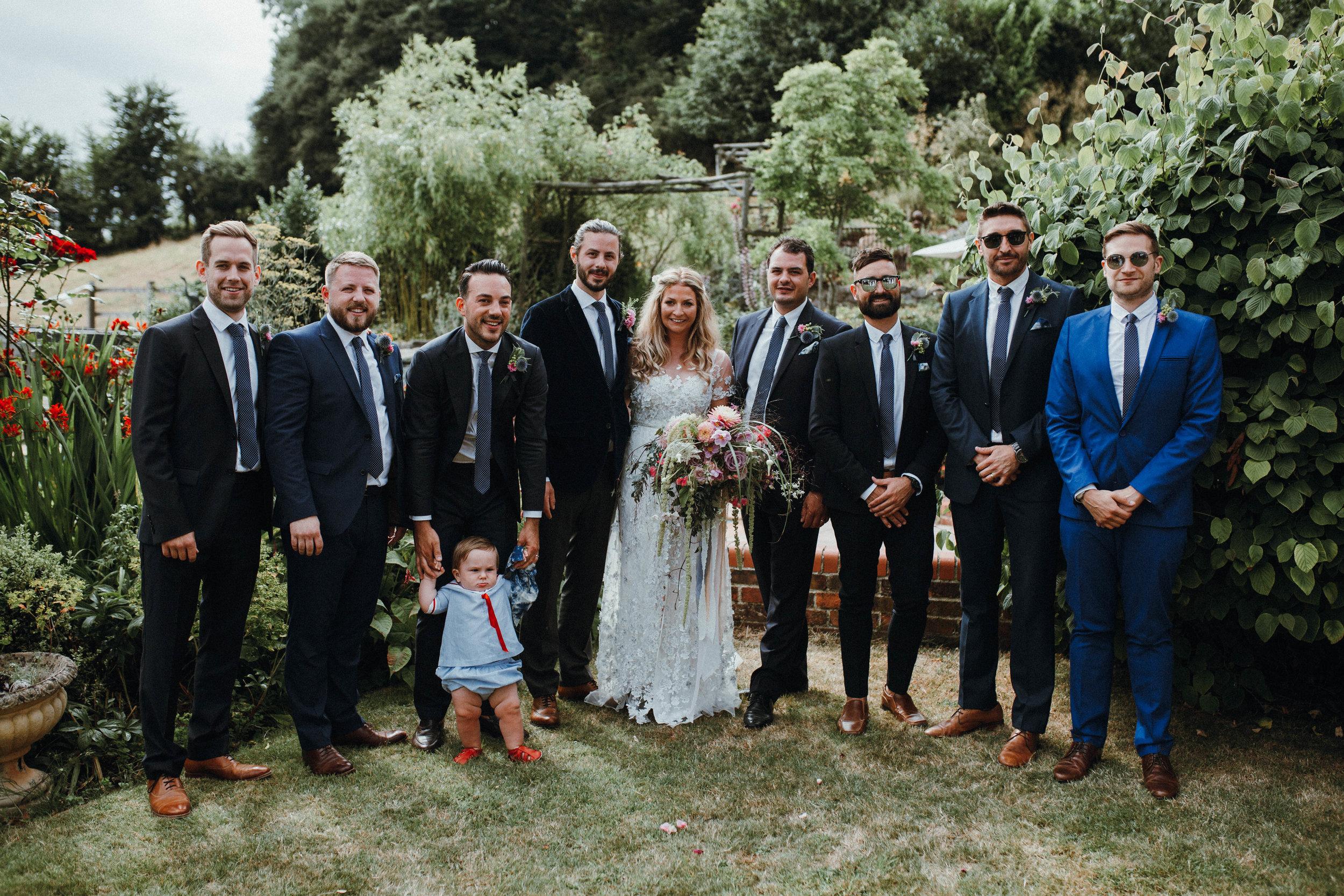 Wedding group shot in garden