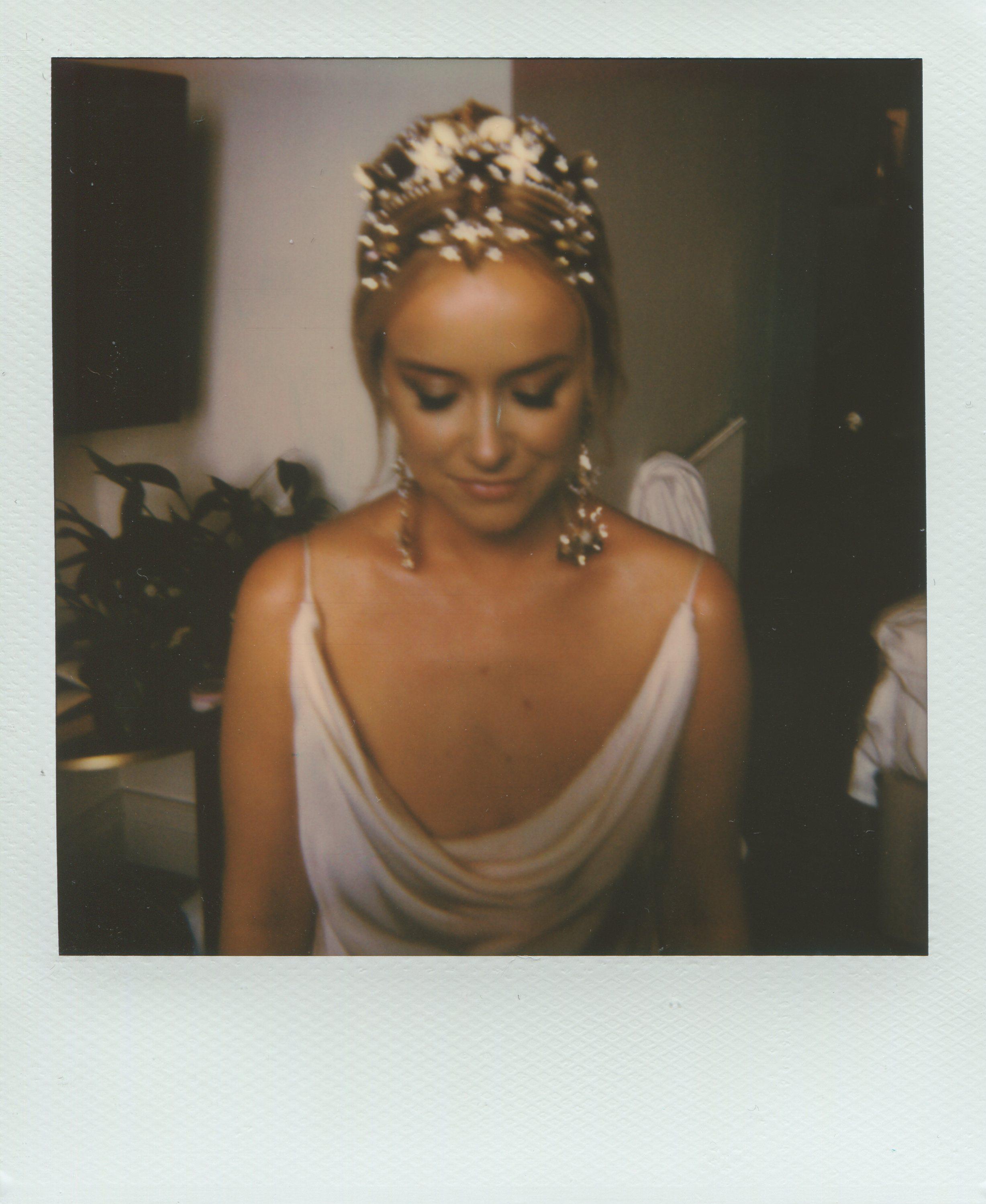 Polaroid bridal portrait