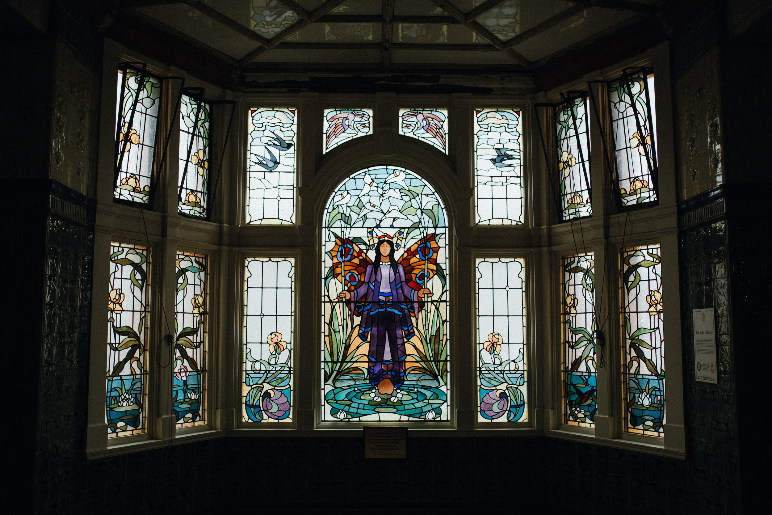 Victoria Baths stained glass window