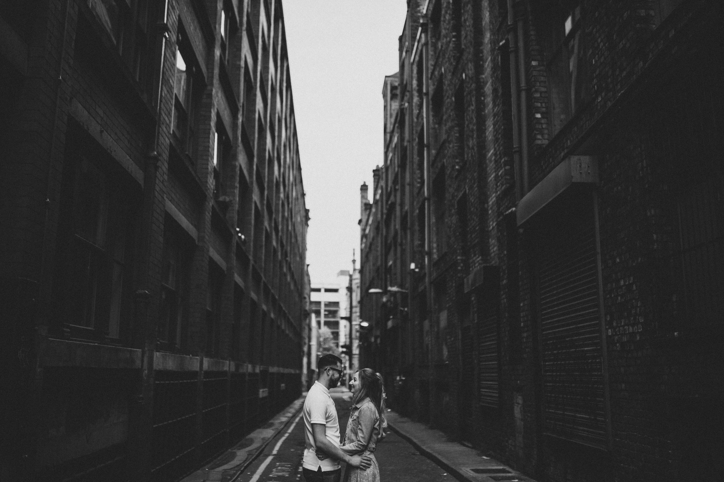 Northern Quarter alleyway pre-wedding shoot