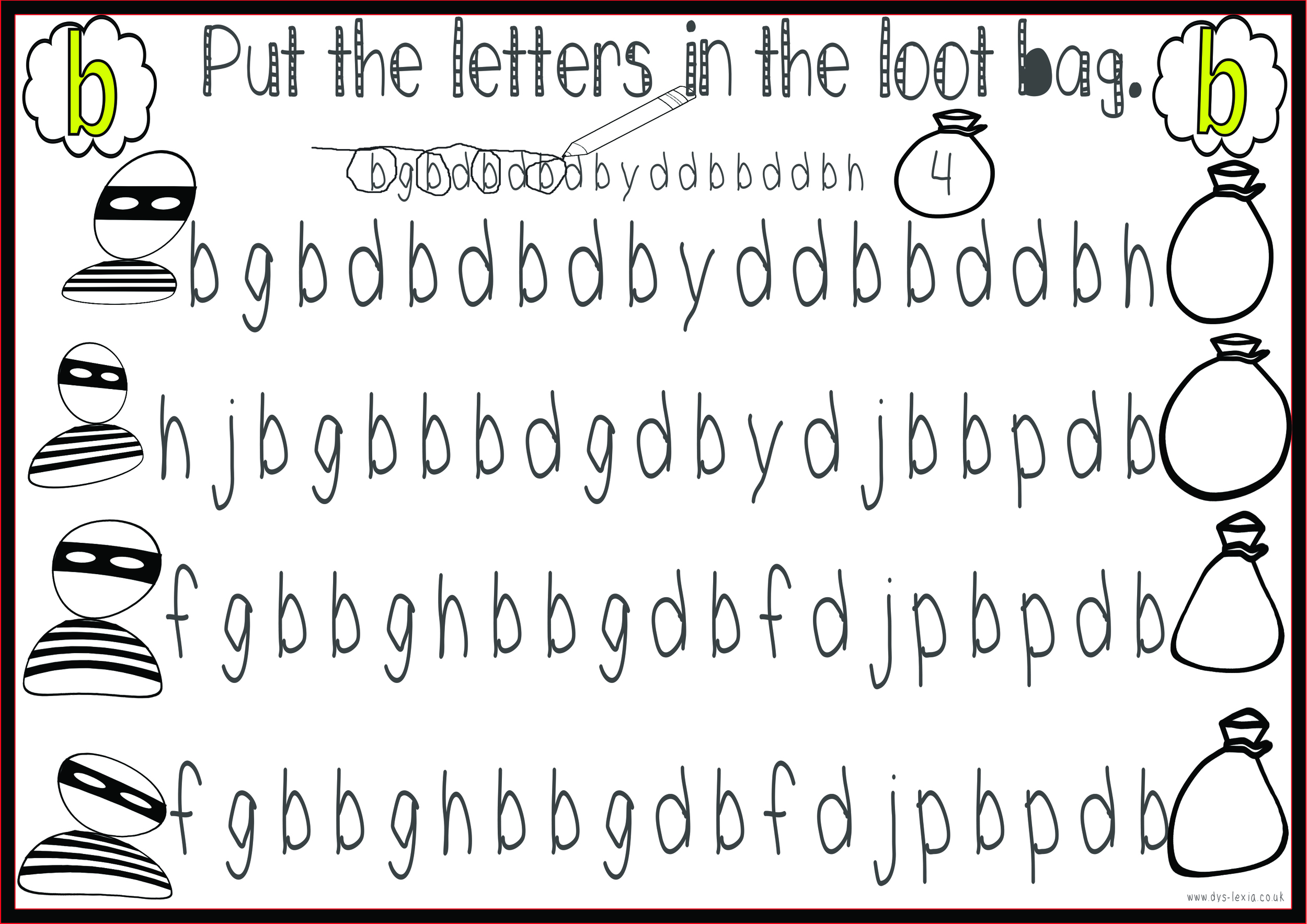 Love this activity to practise b/d letter confusion from www.dys-lexia.co.uk