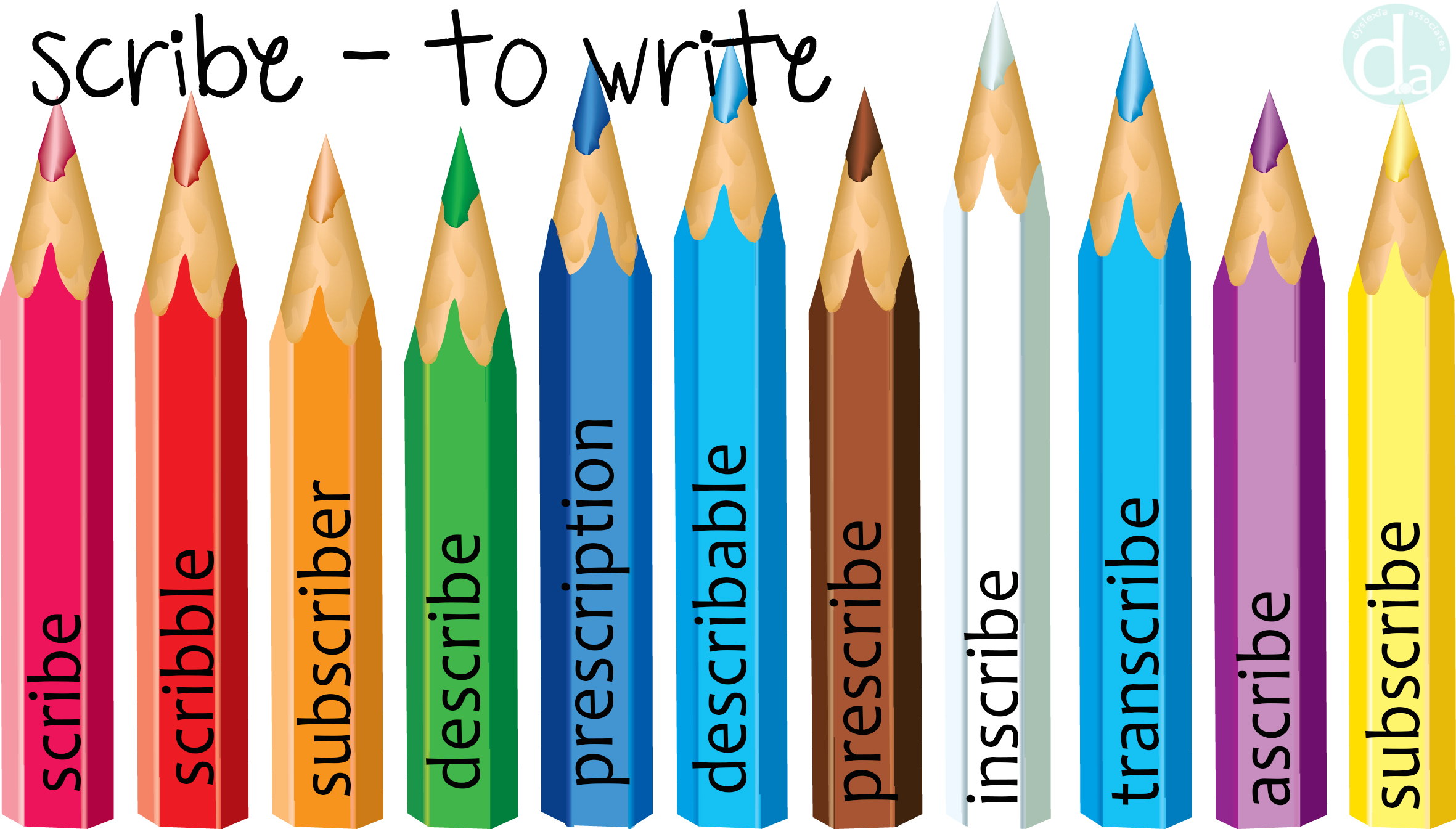 Fun resource for the root word -scribe meaning 'to write'. From dyslexia.associates
