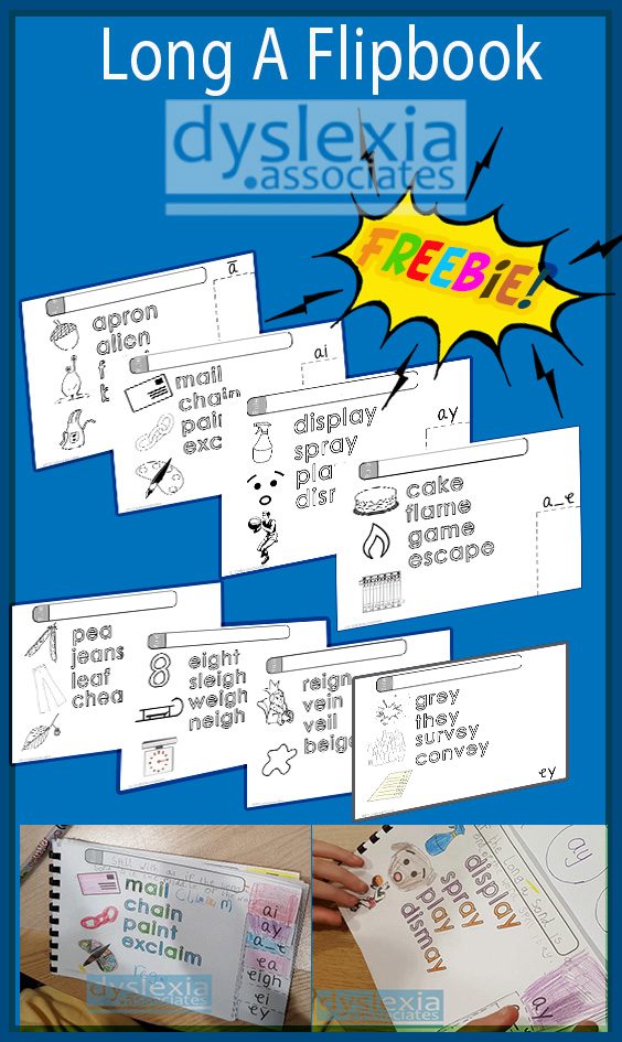 A great free resource teaching the rules for Long A spellings flipbook from dyslexia.associates