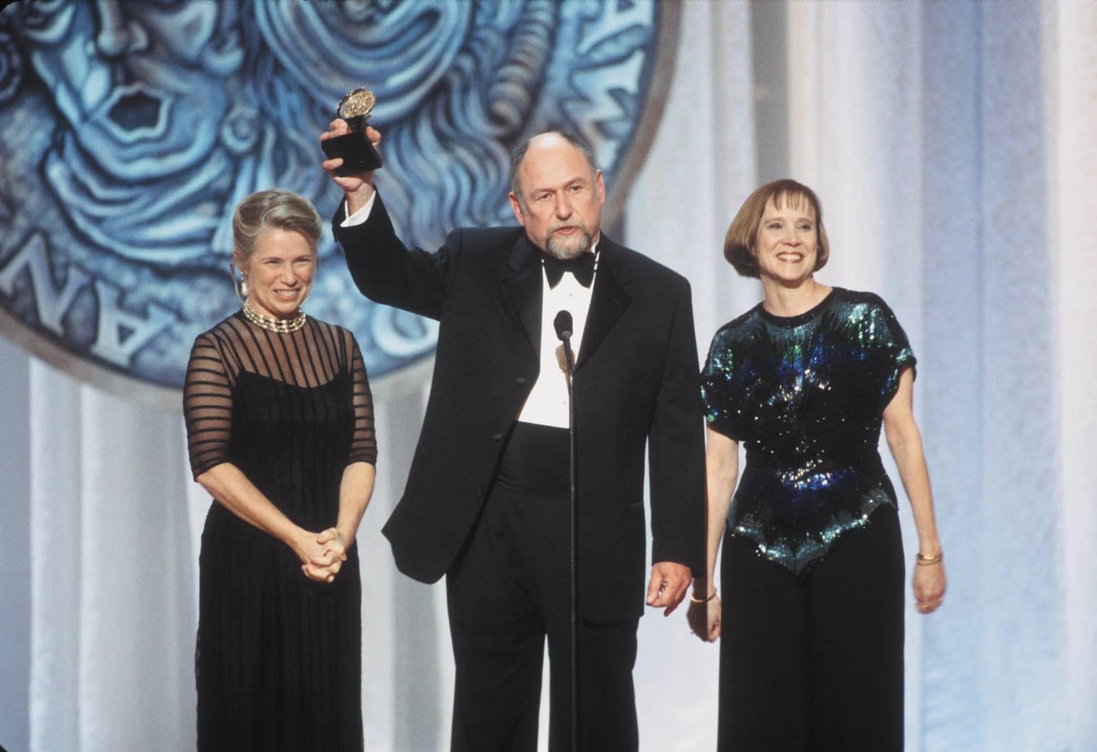 Marcelle McVay, Dennis Zacek and Sandy Shinner celebrate 2001 regional theater Tony Award for Victory Gardens.
