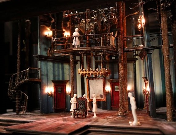 Model of stage for CST's MACBETH in The Yard. More in the CST's    Behind the Scenes Gallery