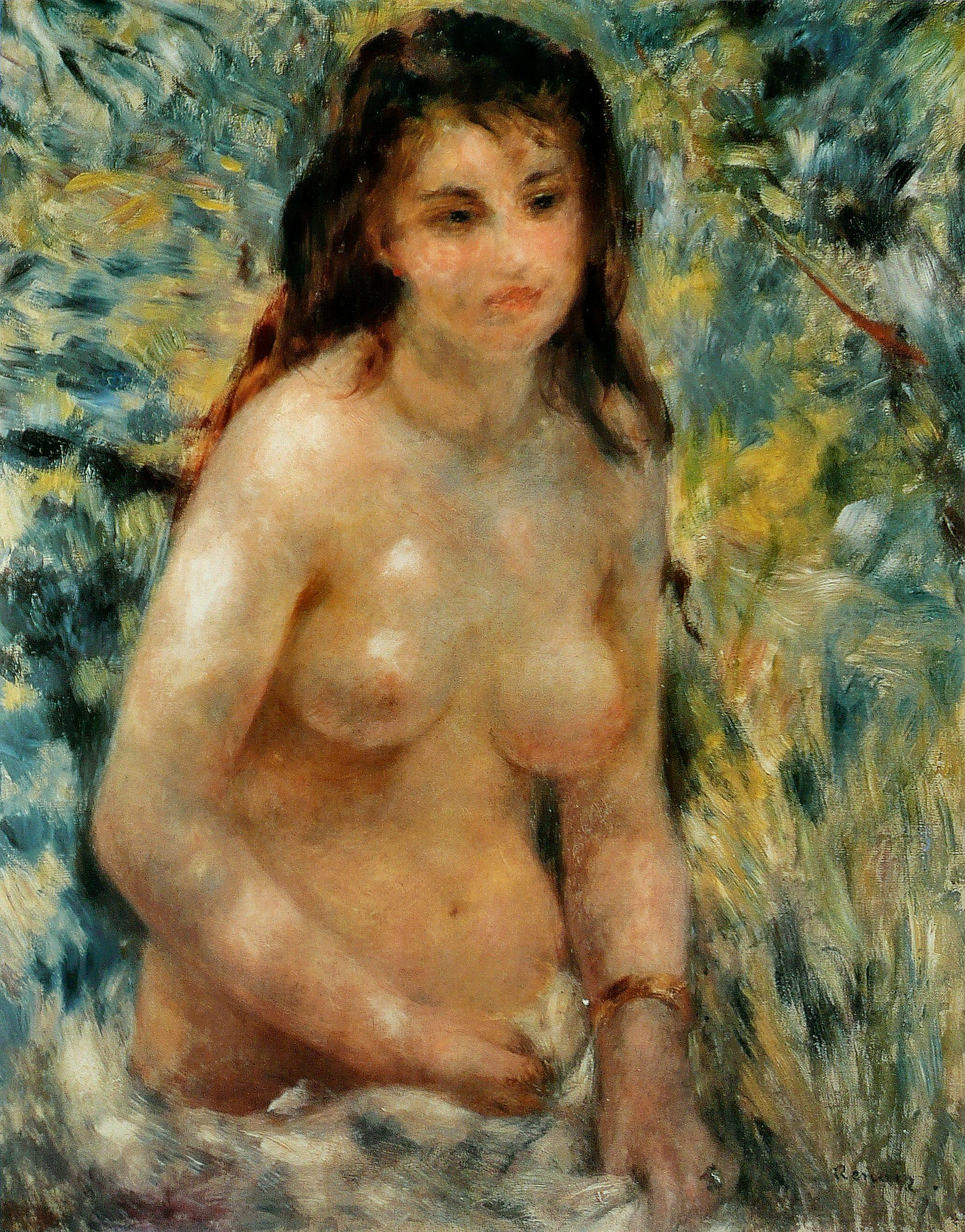 A painting by Pierre Auguste Renoir entitled, Nude in the Sun