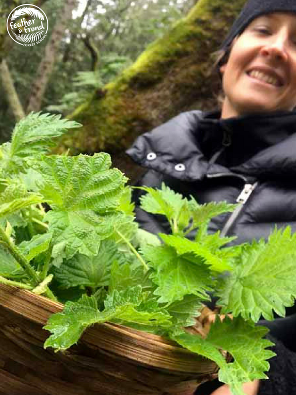 Our Dear friend mandy with a basket full of freshly foraged nettles that she picked yesterday!