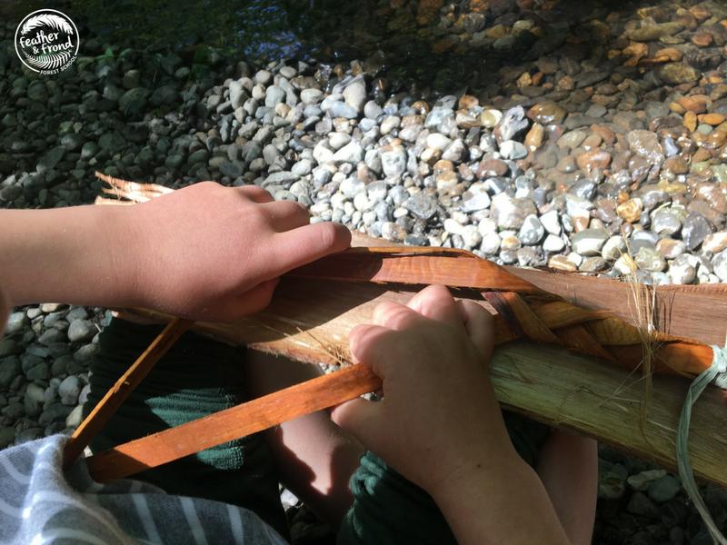 sitting along the creek, Braiding Cedar for Bracelets . . .