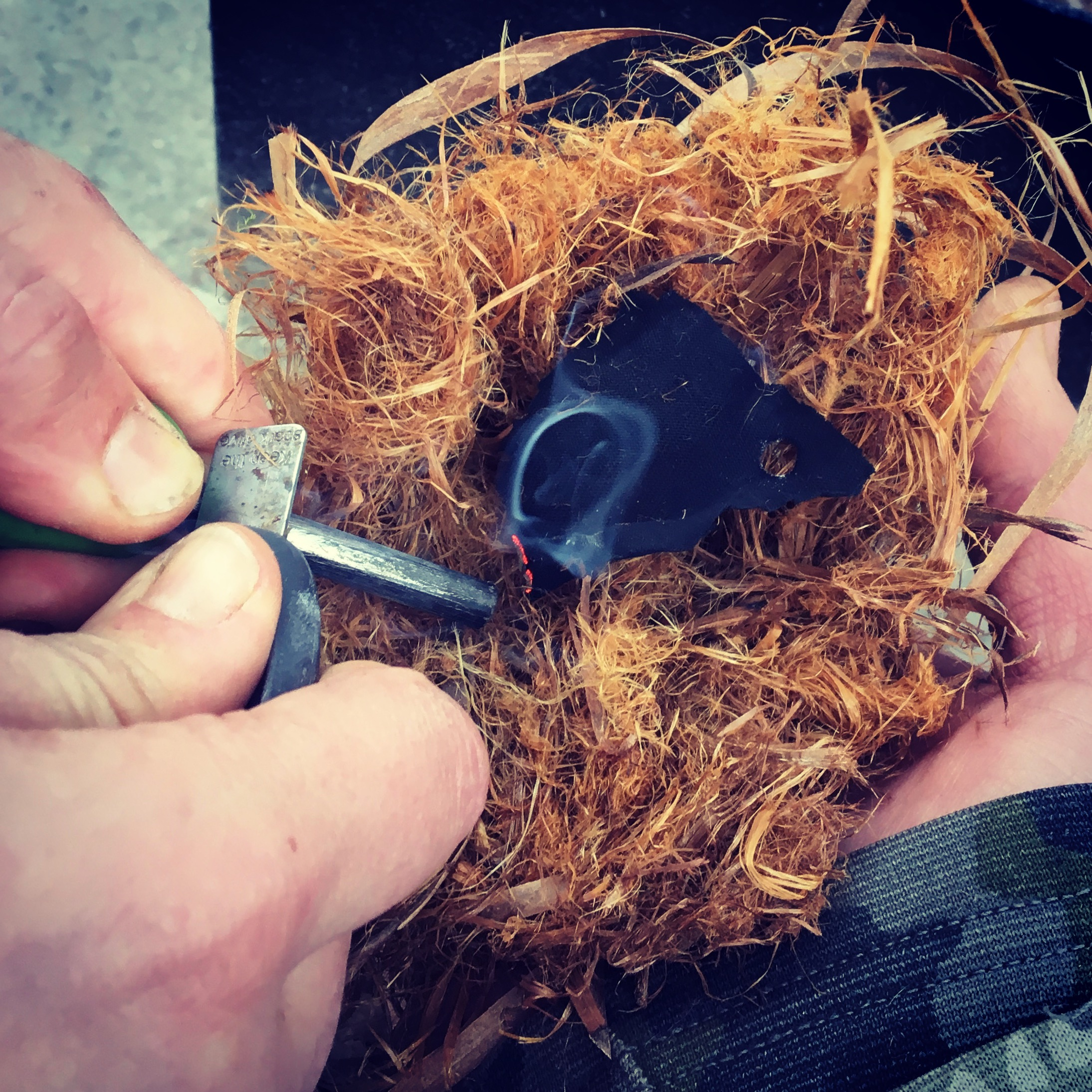 It's starts with a spark! Char cloth in a Cedar Tinder Bundle Nest is a great start to a fire -- I hope you have your kindling and split wood ready.