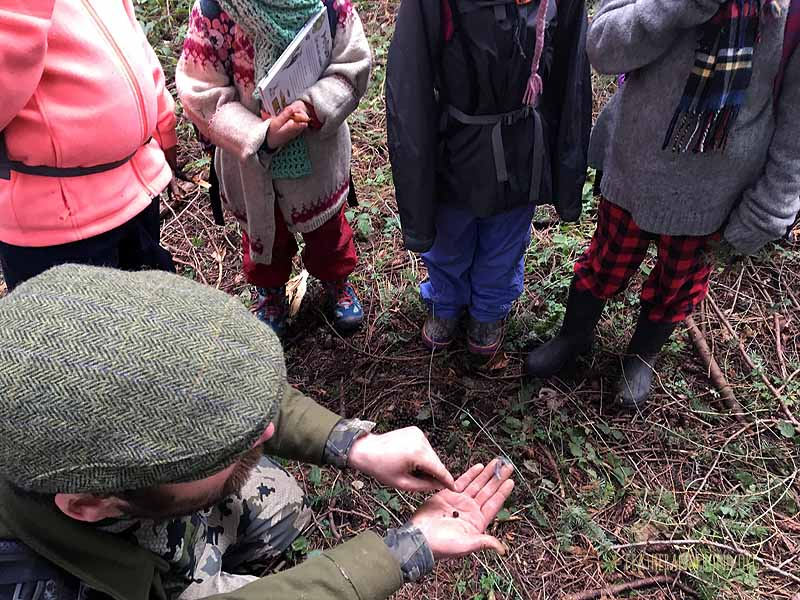 Pat pointing out the distinguishing features of deer scat!