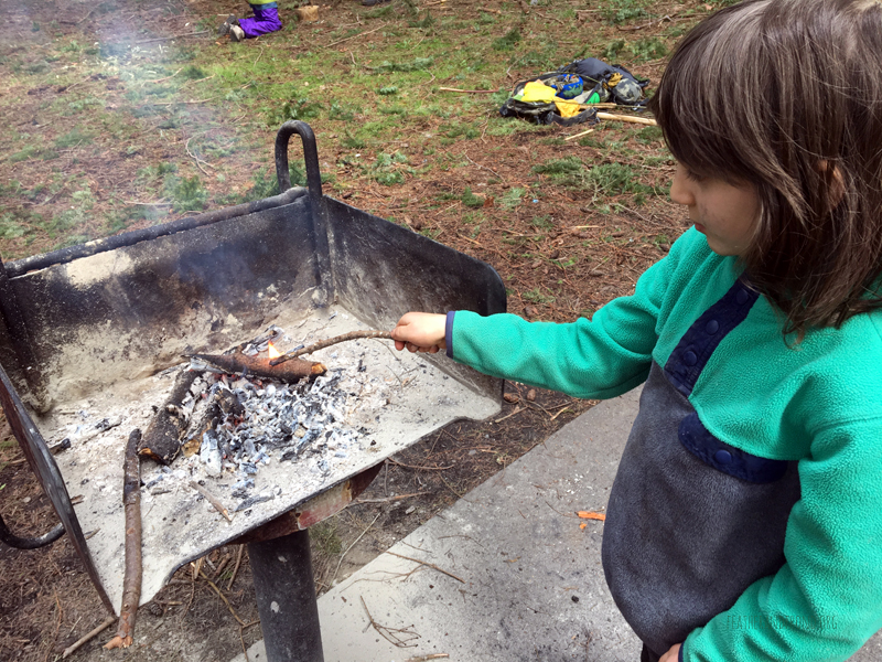 Practicing making doug fir pitch torches