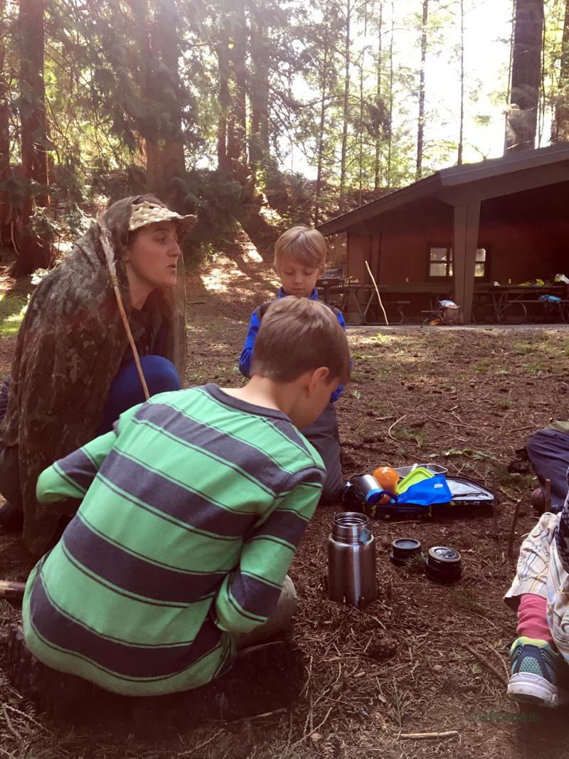 Melissa telling tales of survival skills