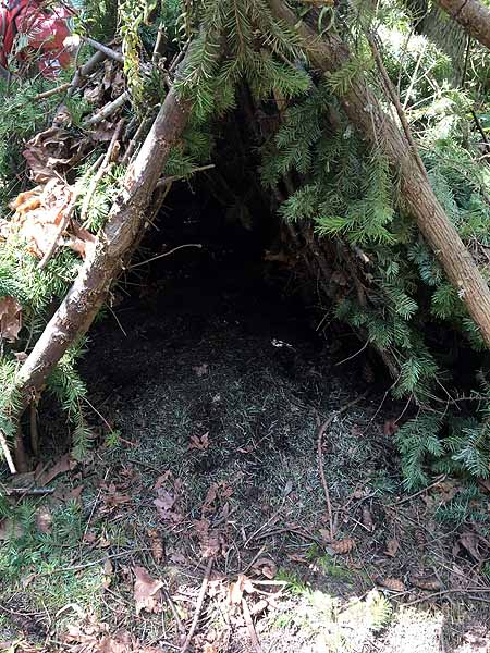 . . .and we found a cool debris shelter!