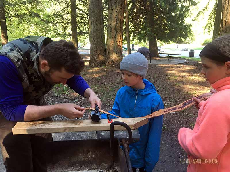 Using the leather stripper to process the inner bark of Cedar