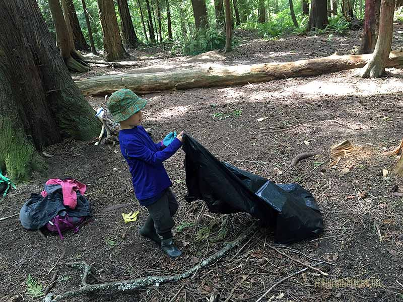 Picking up trash at Owl Pellet Plateau!