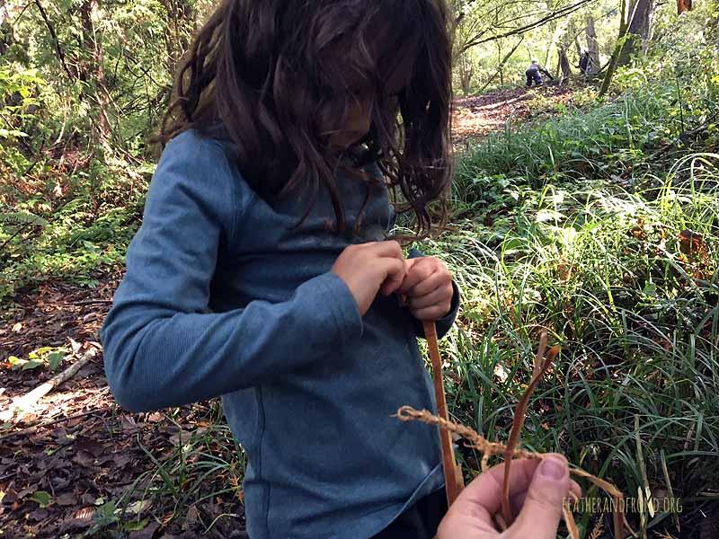 Twisting cedar bark for cordage