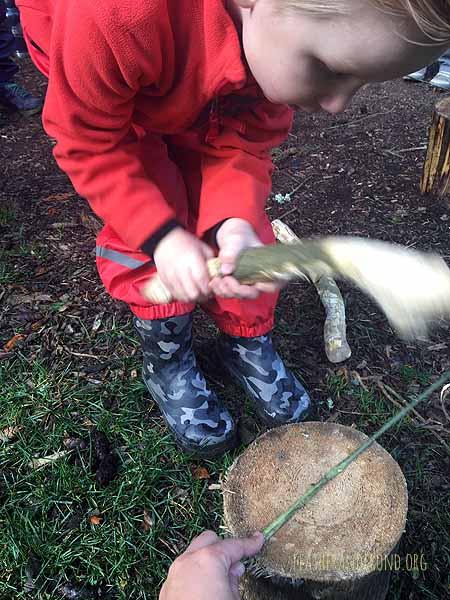 Pounding Stinging Nettle stalks to make cordage