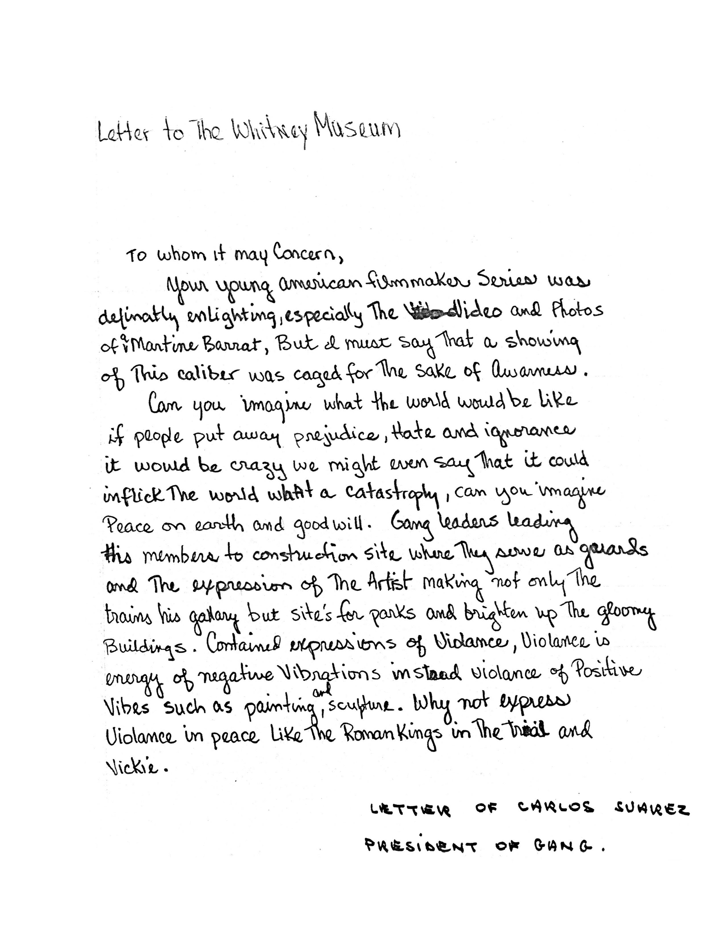 Letter written by Carlos Suarez, president of one of the gangs.