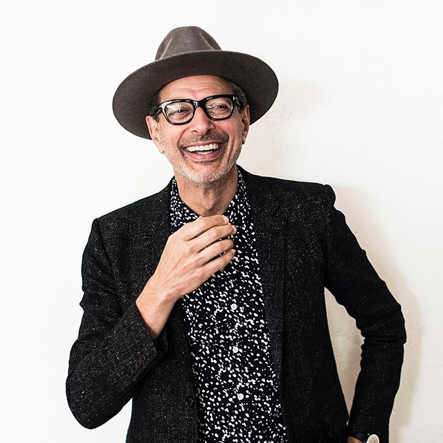 "Impromptu photo shoot with this charmer, Jeff Goldblum, wearing his ""Brass Bar + Fly Away Cord"" hat well. #processandcontent #hatter #madeinLA #handmade #hat #jeffgoldblum 📷: @tylergourley"