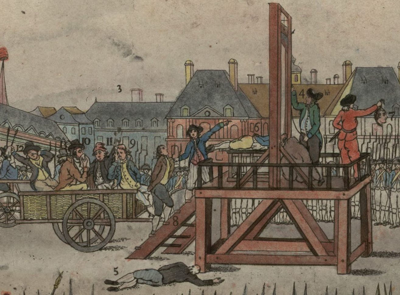 A naïve (but contemporary) depiction of Robespierre and pals being brought to the guillotine at the Place de la Révolution. Couthon lies decapitated, his head displayed to the crowd; Augustin Robespierre is led onto the scaffold. In the tumbril, per the numbering provided, is: (9) Hanriot, (10) Robespierre, showing the slightest hint of his grotesque facial wound, (11) Dumas, (12) Saint-Just, flourishing his handkerchief melodramatically, (13) Lescot Fluriot,mayor of Paris, with his back to the camera. On the ground lies the suicided corpse of Lebas (brought there for the occasion?) Item (4) is Sanson, the state executioner, and (3) is the location of the  Faubourg de Saint-Germain , for a bit of local colour.(Full version via   Wikipedia  )