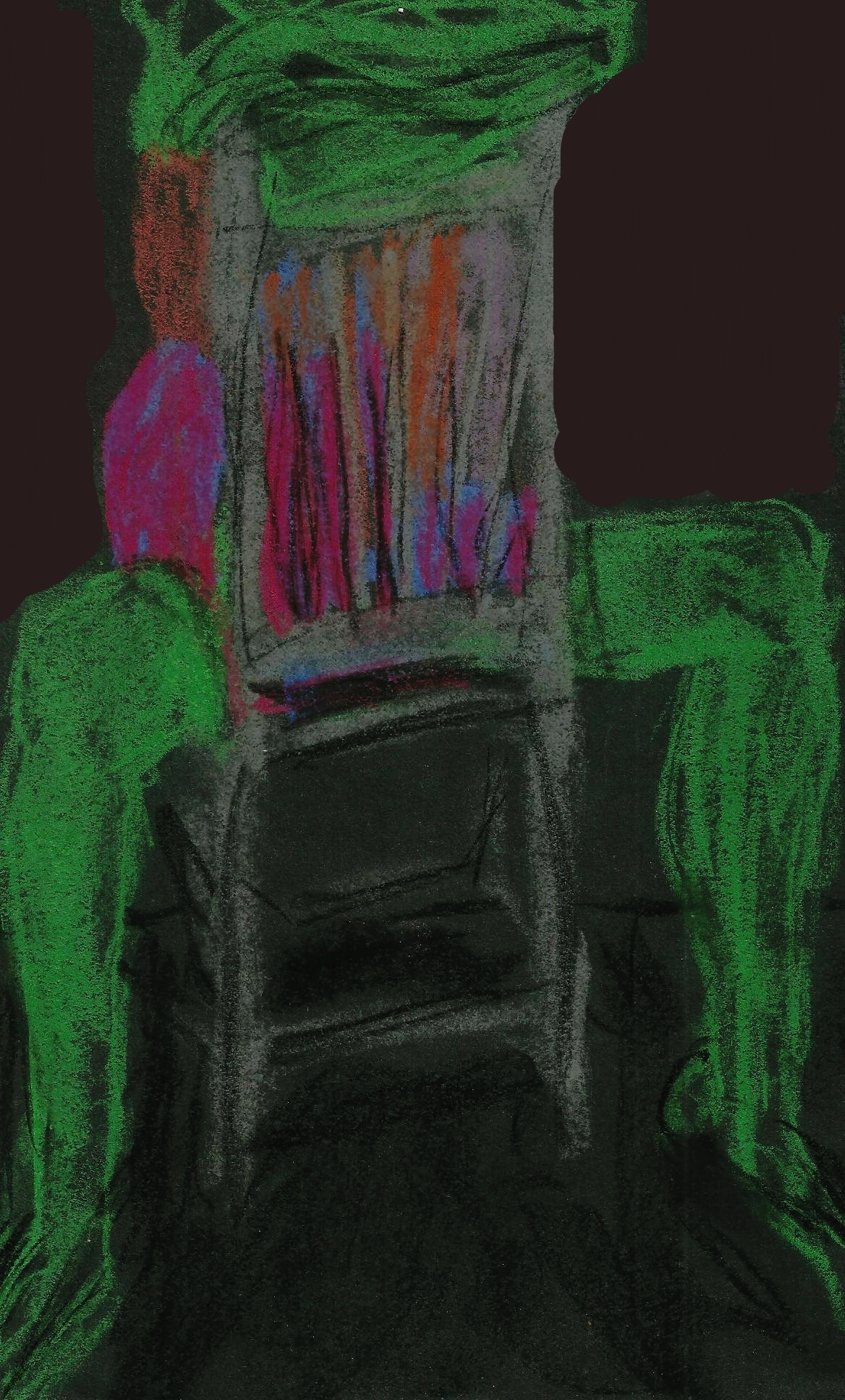Green Model Sitting on Chair