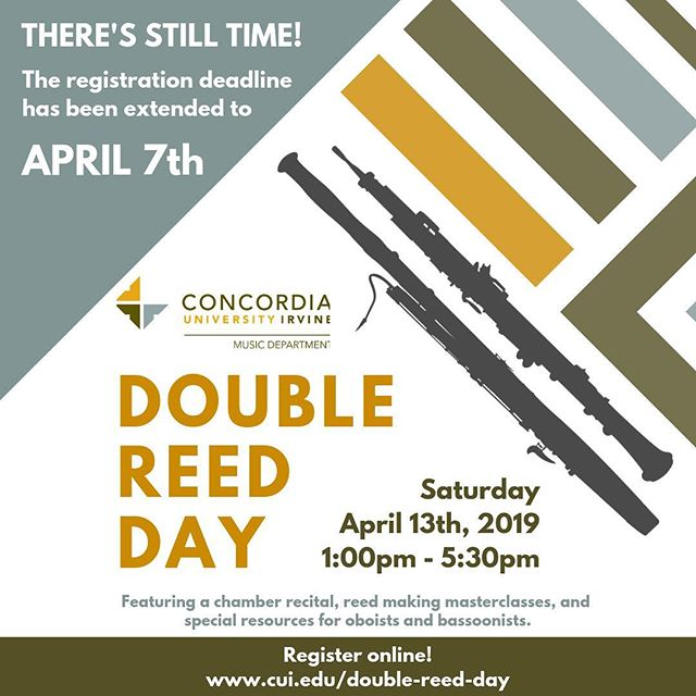 Feel like April snuck up on you this year and you didn't get a chance to register for CUI's Double Reed Day? You're in luck - the registration deadline has been extended!  Join @lizatwater and I for an amazing afternoon of music and reed making. This is the perfect opportunity to get a taste of the reed making process and learn how to scrape a reed yourself. Open to all ages and all ability levels - you won't want to miss it!  Plus, you'll get to meet some of our favorite people in the double reed industry! @bocalmajority @rdgwoodwinds @thereedery @jdwsheetmusic2  Register by April 7th! Link in bio 🎶 #oboe #bassoon #reedmaking #doublereedday