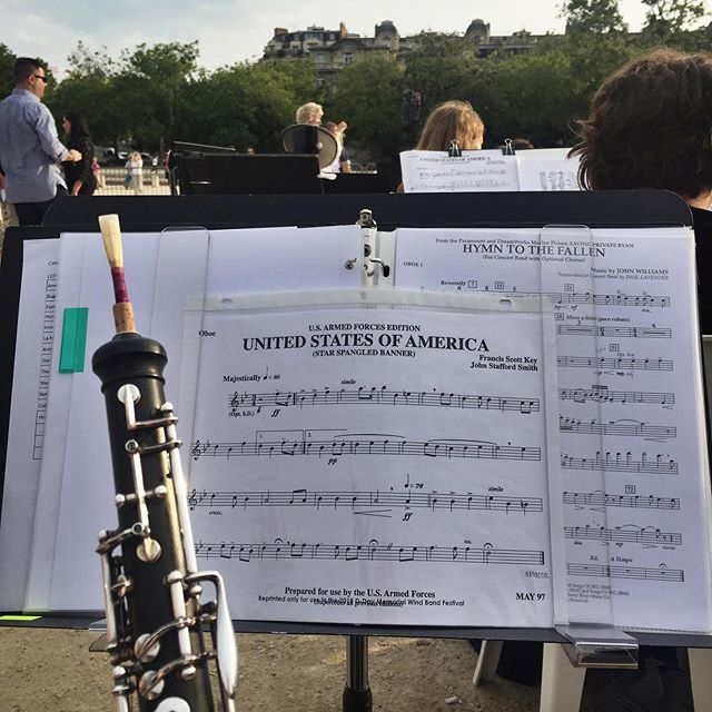 Just checked off a bucket list item I didn't know I needed - performing in front of the Eiffel Tower! So excited to be performing with the D Day Memorial Wind Band this week to honor those who fought and died for our country 75 years ago. Next stop, Normandy! 🇺🇸🎶🇫🇷 #oboe #giglife #dday75thanniversary #windband #thankgoodnessitdidntrain #parisjetaime