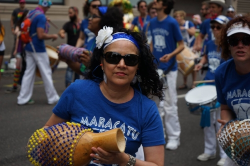 Dianna playing with Maracatu PDX in the Portland Pride Parade 2017.