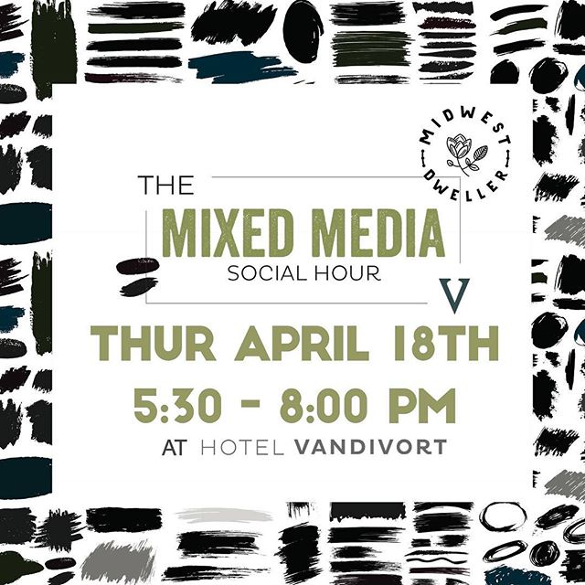 Join us tonight at @hotel_vandivort at 5:30p! This is such a neat event. A lot of new  friendships and artist collaborations have blossomed from the Mixed Media Social Hour. 🌿 If you're looking for a way to get more integrated into the creative community of Springfield, this is the night! @artsfestonwalnut is going an Artsfest artist preview, @the_order_springfield has Happy Hour for the first half hour and @cravecookiedough is offering 10% off to anyone who shows their nametag from the event! This is a free event that is open to the entire community. Come socialize! Creatives • Collabs • Community