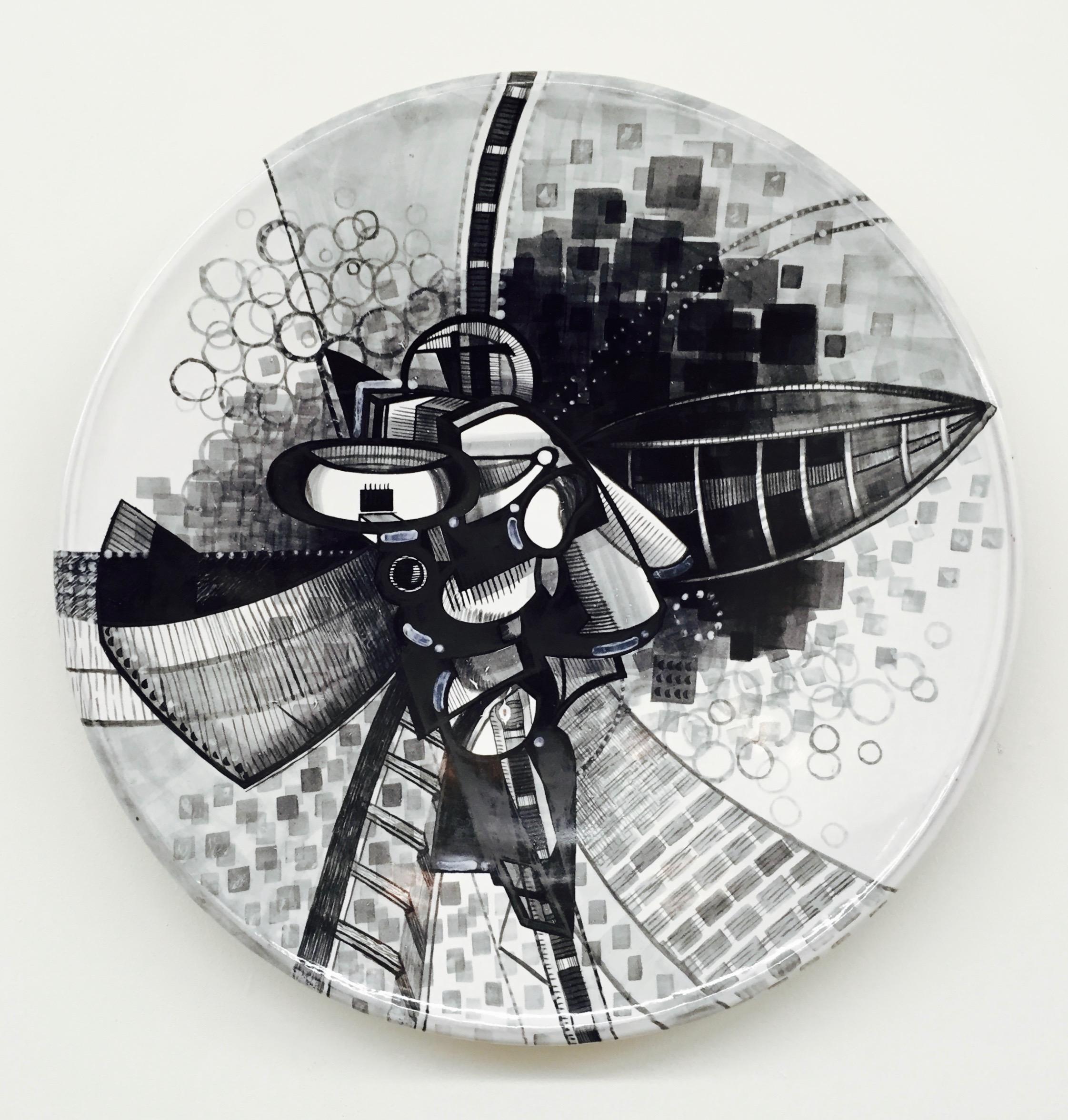 "J. Knight/ C. Skura  2014. Earthenware with hand-painted majolica.  18"" in diameter."