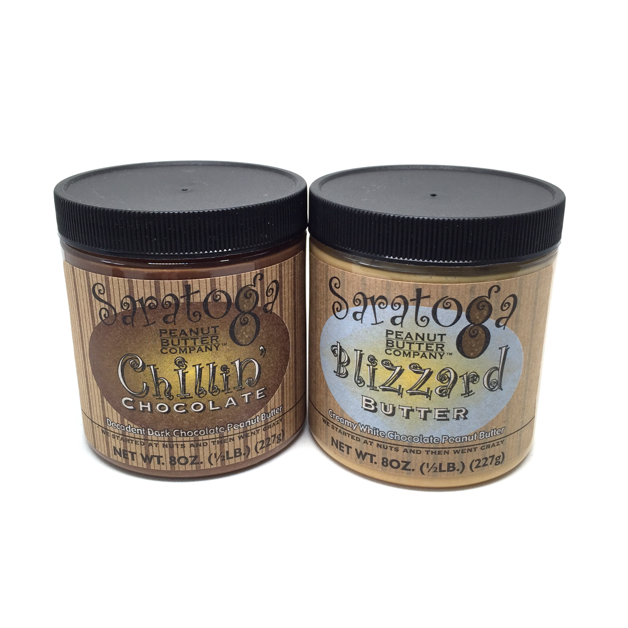 From the nuts at Saratoga Peanut Butter! Chillin' Chocolate, or Blizzard Butter, whether your in the mood for the rich taste of dark chocolate, or the creamy smooth taste of white chocolate and vanilla, these are sure to please!  Gluten Free, Non-GMO, No Added Oils, No Added Sugars, No Preservatives, No Additives, Vegan