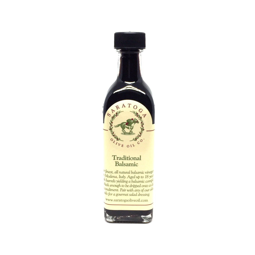 Another offering from the award winning Saratoga Olive Oil Company! This exquisite balsamic vinegar hails from Modena,Italy, and ages for up to 18 years in oak barrels! It's their best selling balsamic, and after your first taste, you'll understand why!