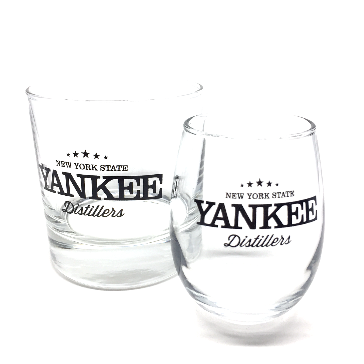 From Yankee Distillers, proving that the best Bourbon and Rye actually reside in the northeast! These guys do it right, with New York grains, and while we can't legally ship you their spirits, we offer you a choice of a beatuiful rocks glass, or a tasting glass that sits perfect in the hand. Cheers!