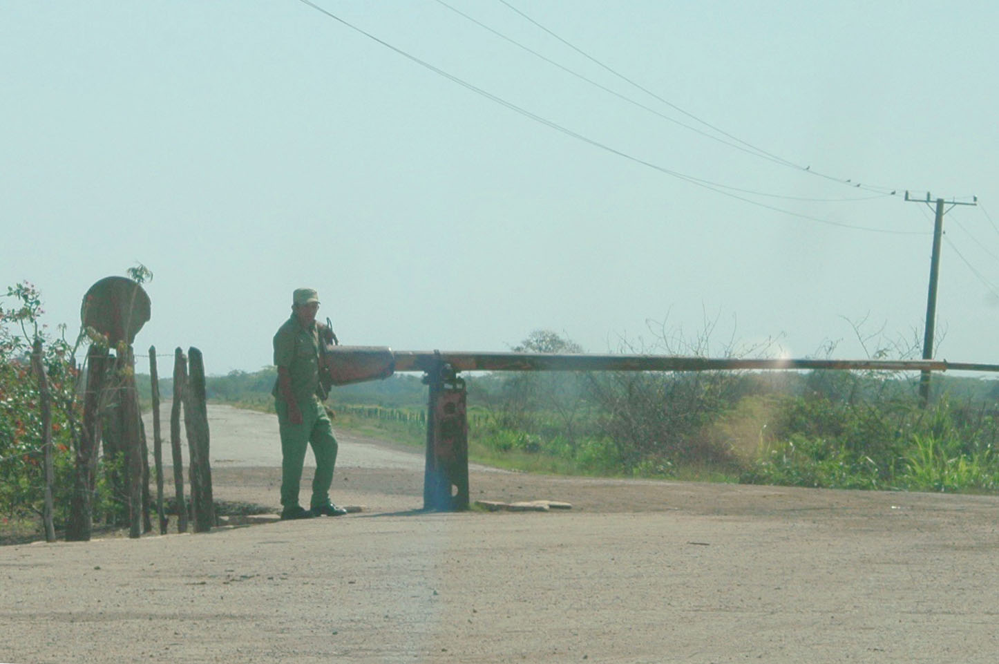 Government official guarding the area