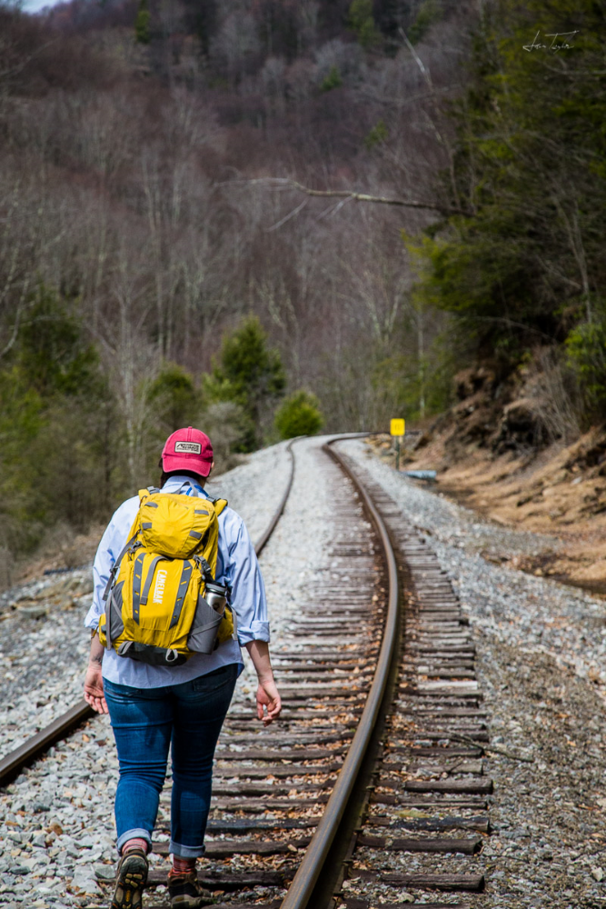 Walking the tracks. This is the preferred route, noted in the official trail description!