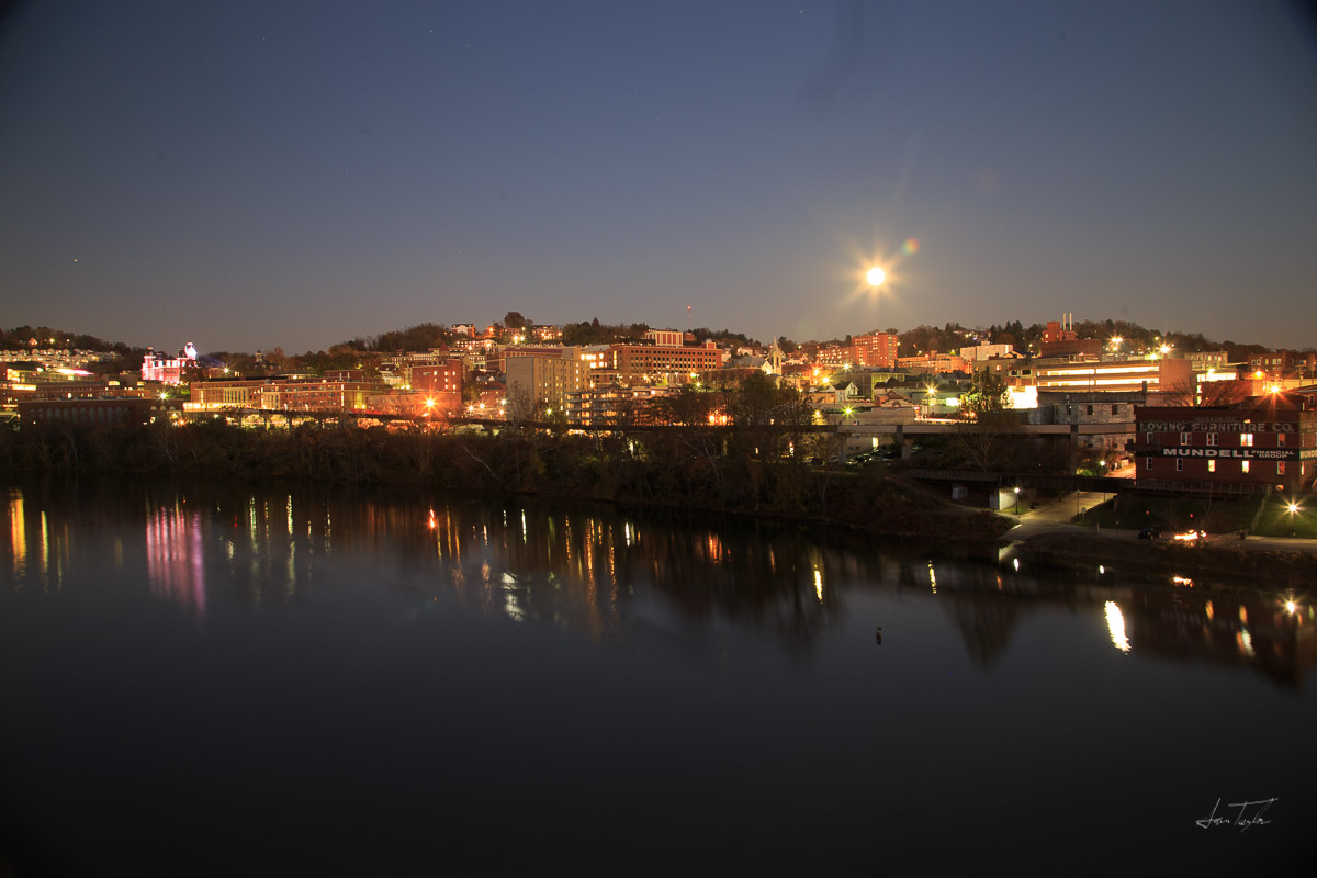 """Full """"Super Moon"""" over Morgantown. The moon is brighter than town!"""