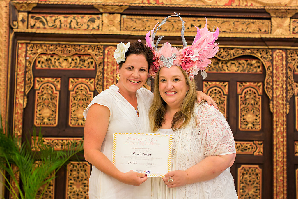 Graduating in Bali. Why wear a mortarboard when you can wear a flower or pink goddess crown?    Image: Fi Mims Photography