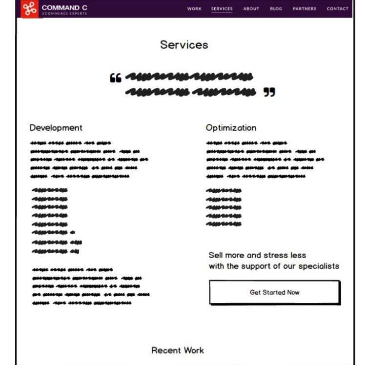 """Here's an """"above-the-fold"""" desktop wireframe template for an interior page of the agency website."""