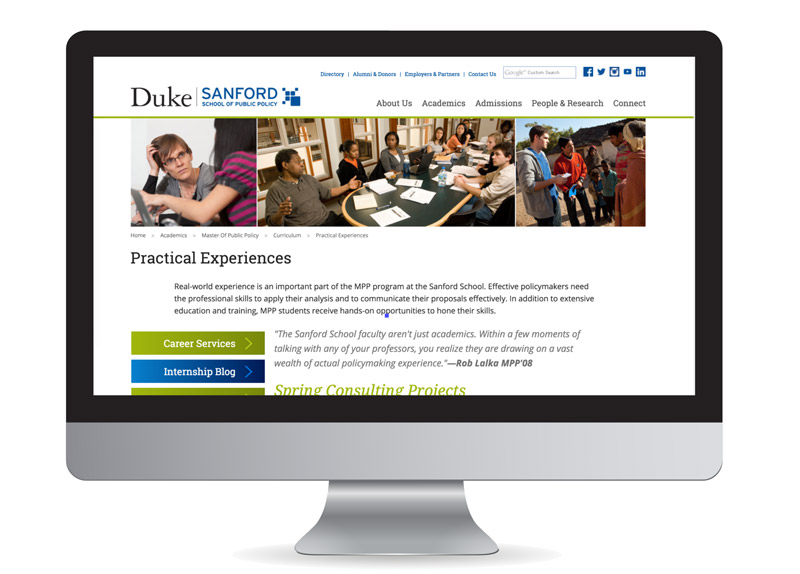 Screenshot of the Practical Experiences Page of the Sanford Website