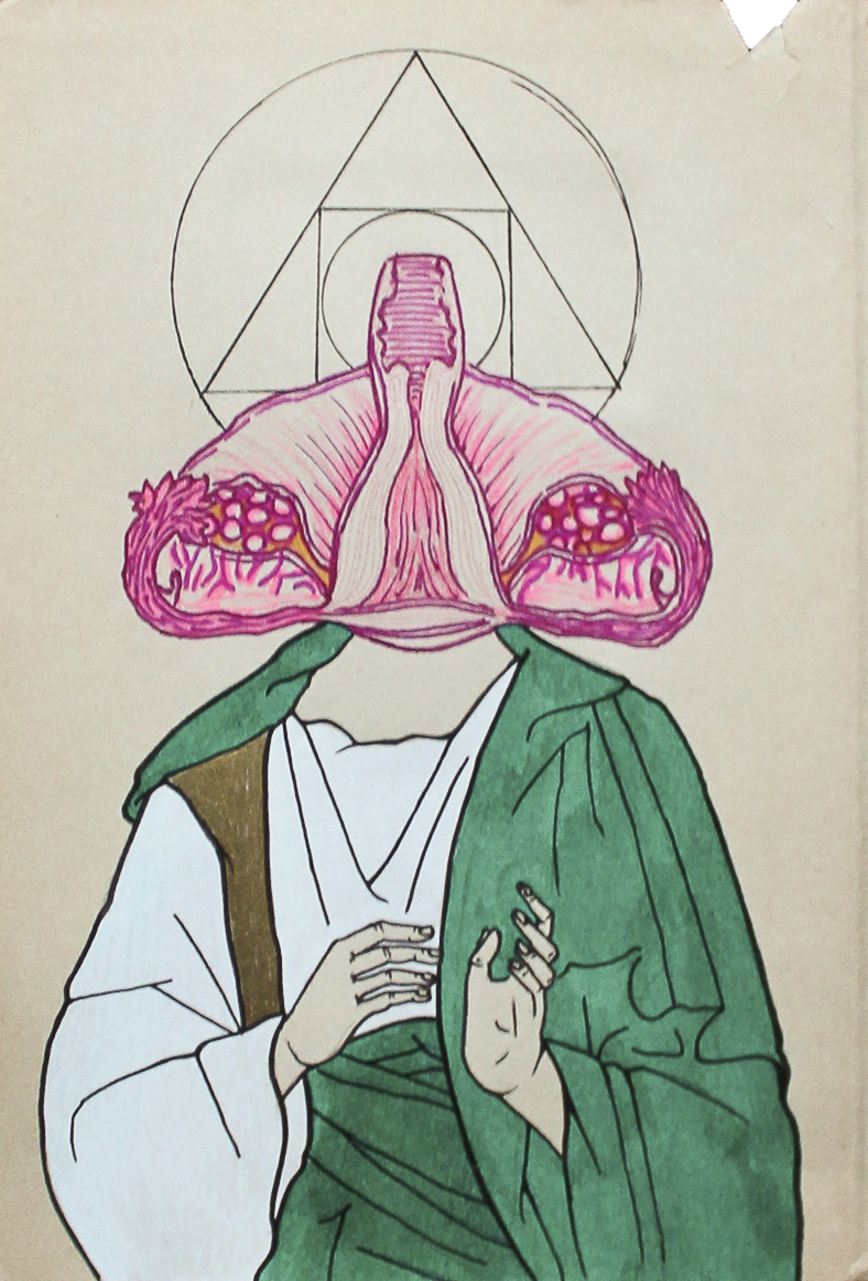 Euclidean the alchemist, ink, graphite, and marker on aged paper, 2014